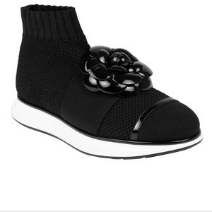 CHANEL Womens Knit Sneaker Patent Flower